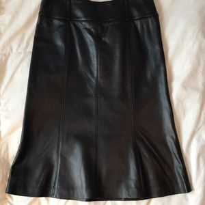 Vintage Aline black leather high waisted skirt